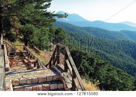 place to rest on mountain top forest green valleys Rhodes Greece