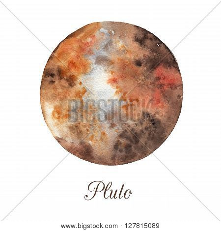 Planet Pluto. Watercolor illustration isolated on white background