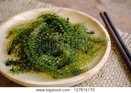 Sea Grapes (Caulerpa Lentillifera) seaweed on wooden table