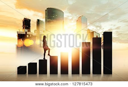 Success concept with businesswoman silhouette walking on backlit chart bars with Moscow city and sunshine in the background