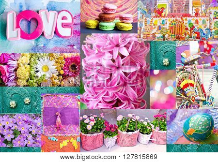 Interesting colorful collage with flowers easter egg toy city and toys bicycle macaroons forged ornament. Can use for print on cover wrapping paper napkins place mate tablecloth.