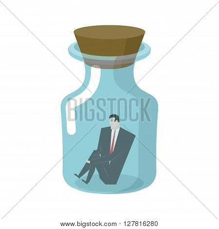 Businessman In Glass Jar. Boss In Bottle. Desperate Situations. Man Sitting Alone At Bottom