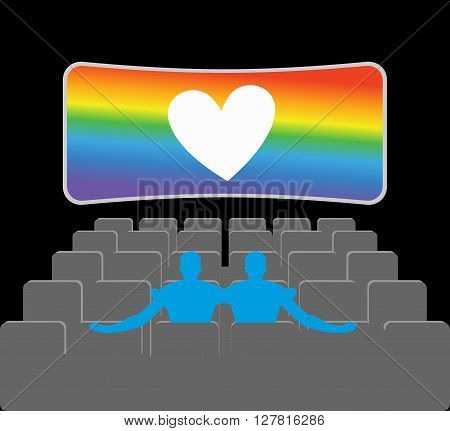 Gays In Theater. Two Blue Men In Cinema Hall. Places For Kisses On Last Row. Lovers Watching Movie.