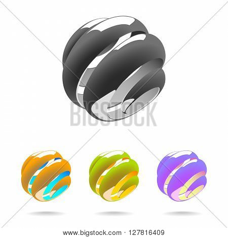 Set of Abstract Globe Logo Elements. Spiral globe. 3D Look. Globe with Reflections