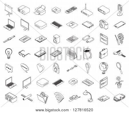set of isometric volumetric of icons on a theme of computer technology and office equipment - vector eps 10