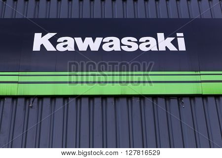 Villefranche, France - January 24, 2016: Kawasaki is a Japanese public multinational corporation primarily known as a manufacturer of motorcycles, heavy equipment, aerospace and defense