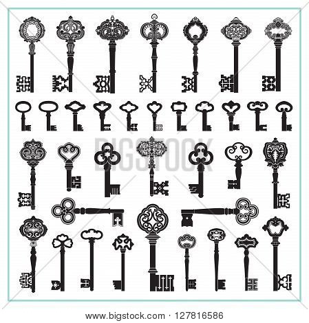 Large collection of antique and decorative keys.