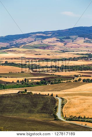 Aerial view of beautiful tuscan valley near Pienza town