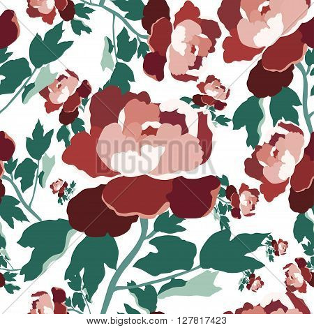 Floral seamless pattern.Vector seamless textile texture.Colorful textile print.