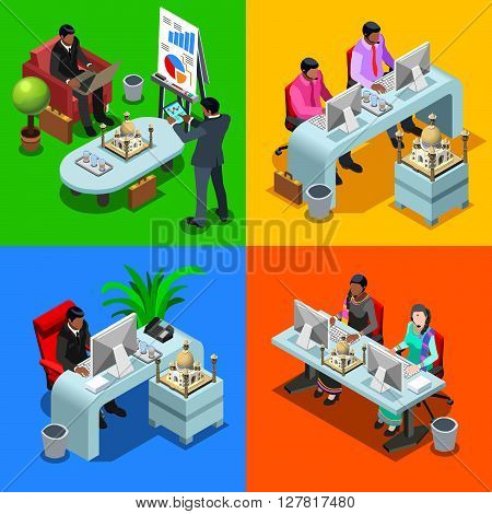 Indian isometric people business infographic. Businessman business man and woman employee.Flat 3D isometric people set. Isolated vector illustration.