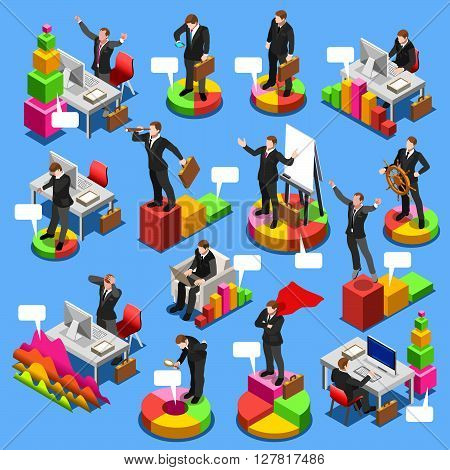 Businessman isometric people collection. Business man characters on graph chart infographic icons. Flat 3D vector isolated business man