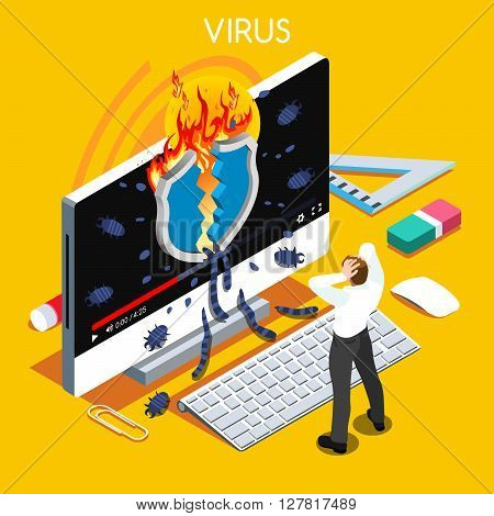 Computer virus trojan malware attack warning infographic. 3D flat isometric people set. Virus concept vector illustration