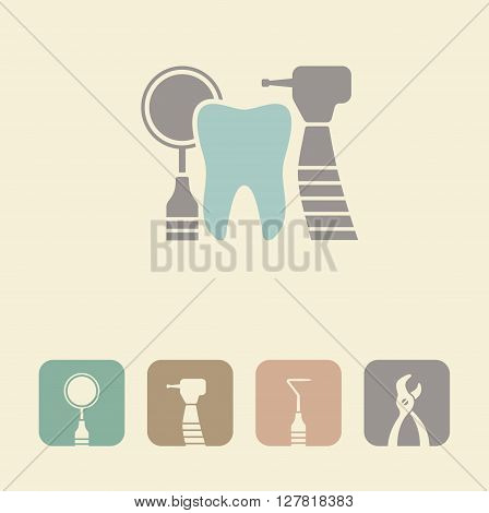 Tooth with dental tools illustraton. Vector symbols
