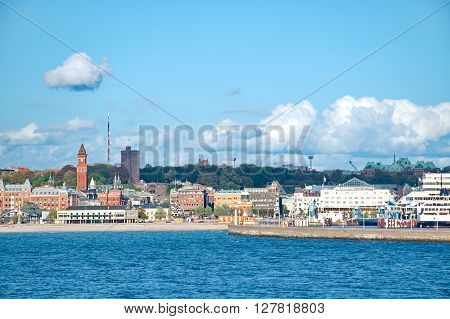 Helsingborg from the water between Sweden and Denmark