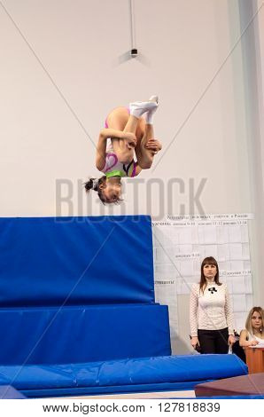 Orenburg, Russia - 19 April 2016: Girls Compete In Jumping On The Trampoline.