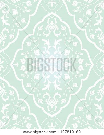 Gentle floral ornament. Template for oriental carpets textiles wallpaper shawl and any surface. Seamless white vector pattern on a blue background.