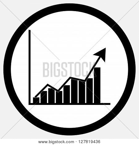 Growth chart icon black white. Growth and growth concept chart and business growth chart and graph growth statistic and business diagram symbol. Vector flat design illustration