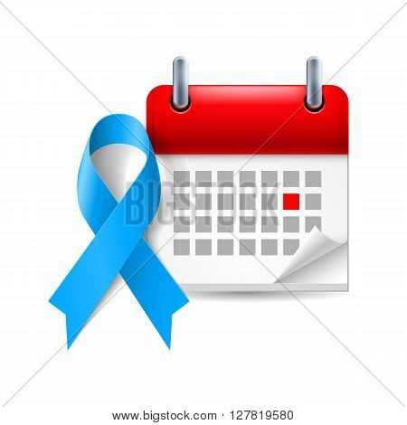Blue awareness ribbon and calendar with marked day. Colon cancer child abuse Stevens - Johnson syndrome symbol