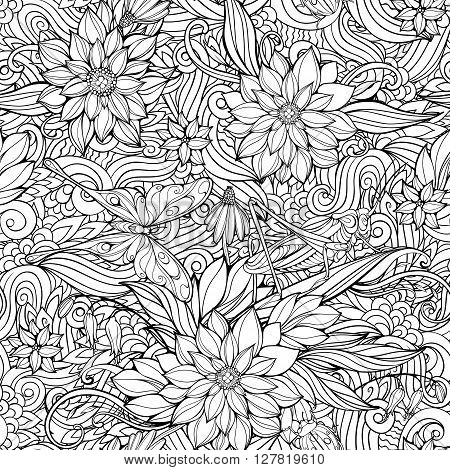 Coloring page with seamless pattern of flowers, butterflies and grasshoppers.