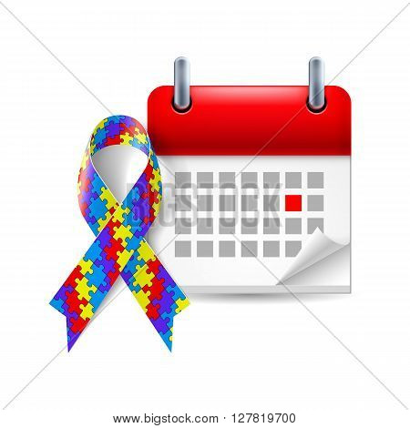 Puzzle awareness ribbon and calendar with marked day. Autism symbol