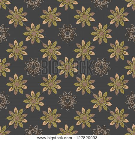 Seamless repeating pattern with colored abstract flowers on a black background.