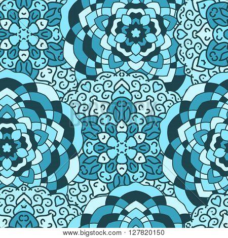 Seamless background of circular patterns, blue mandalas.