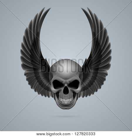 Evil looking skull with two black wings up.