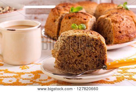 Slice of nutcracker ring cake on plate