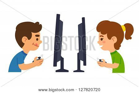 Cartoon boy and girl playing video games together. Vector illustration.