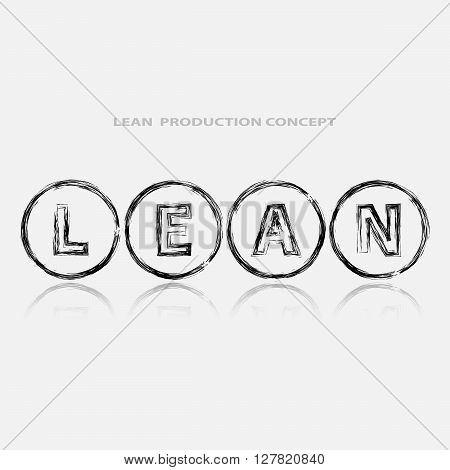 Lean strategy background. Title Lean in black abstract circles. White background. Reflection under title. Lean is modern program of productivity