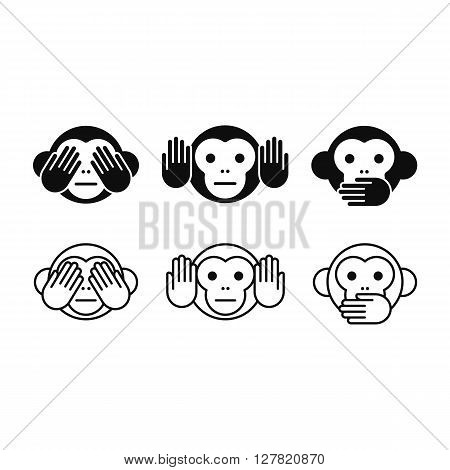 See no Evil Hear no Evil Speak no Evil monkey icon set in two styles, solid and line. Simple modern vector illustration.