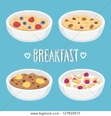 Hand drawn breakfast bowl set. Oatmeal and cereal with fruits chocolate and nuts.