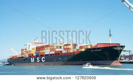 Cargo Ship Msc Veronique Entering The Port Of Oakland