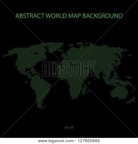 Abstract world map background. World map filled by X symbol in circle distribution. Green tone vector