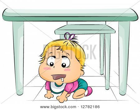Hungry Baby Under the Table - Vector