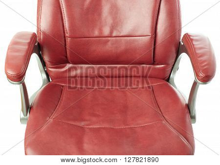 Part of Red leather Office chair over isolated white background