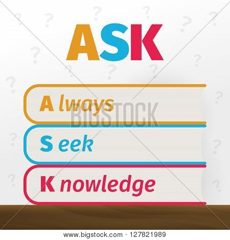 Ask conceptual graphic. Books and question marks vector illustration