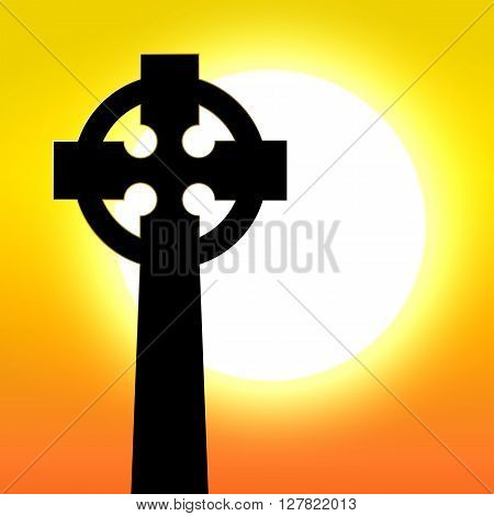 Celtic cross in front of sunset vector illustration