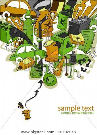 Reciclaje de diseño - Vector