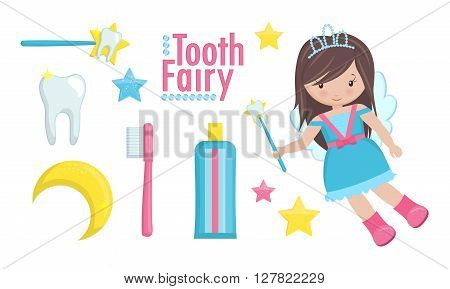 Magic tooth fairy with a wand and tooth flying and a set of cute items. The set includes toothbrush, toothpaste, magic stars and moon.