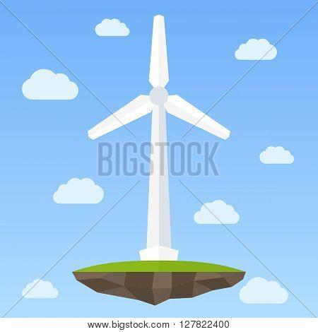 Wind energy turbine on small island in the sky