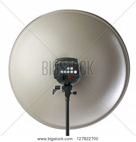 Pulse studio flash with beauty dish on a stand over isolated white background
