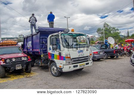 Quito, Ecuador - April, 17, 2016: Truck carrying disaster relief food , clothes, medicine and water donations for earthquake survivors in the coast.