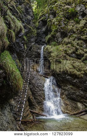 Dangerous Trail  Across Waterfall  (using Via Ferrata), Slovak Paradise National Park,slovakia