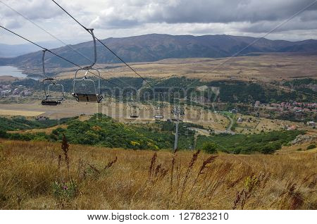 Panorama Of Jermuk Spa Resort City And Arpa River Canyon Form Ropeway Station. Armenia.