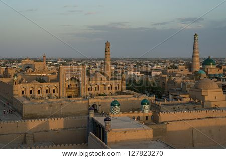 Khiva Cityscape In Sunset From Tower Of Itchan Kala, The Walled Inner Town Of The City Of Khiva, Uzb
