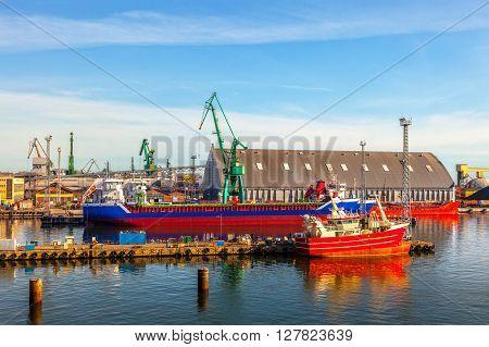 View of the quay port of Gdynia Poland.