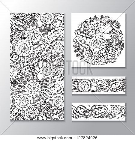 set of stock vector seamless doodle floral pattern. orient. abstract background