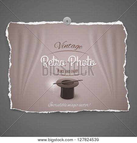 top hat and magic wand vintage retro photo on gray background