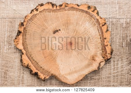 Wood plank board on wooden table useful as a background. Top view with copy space.